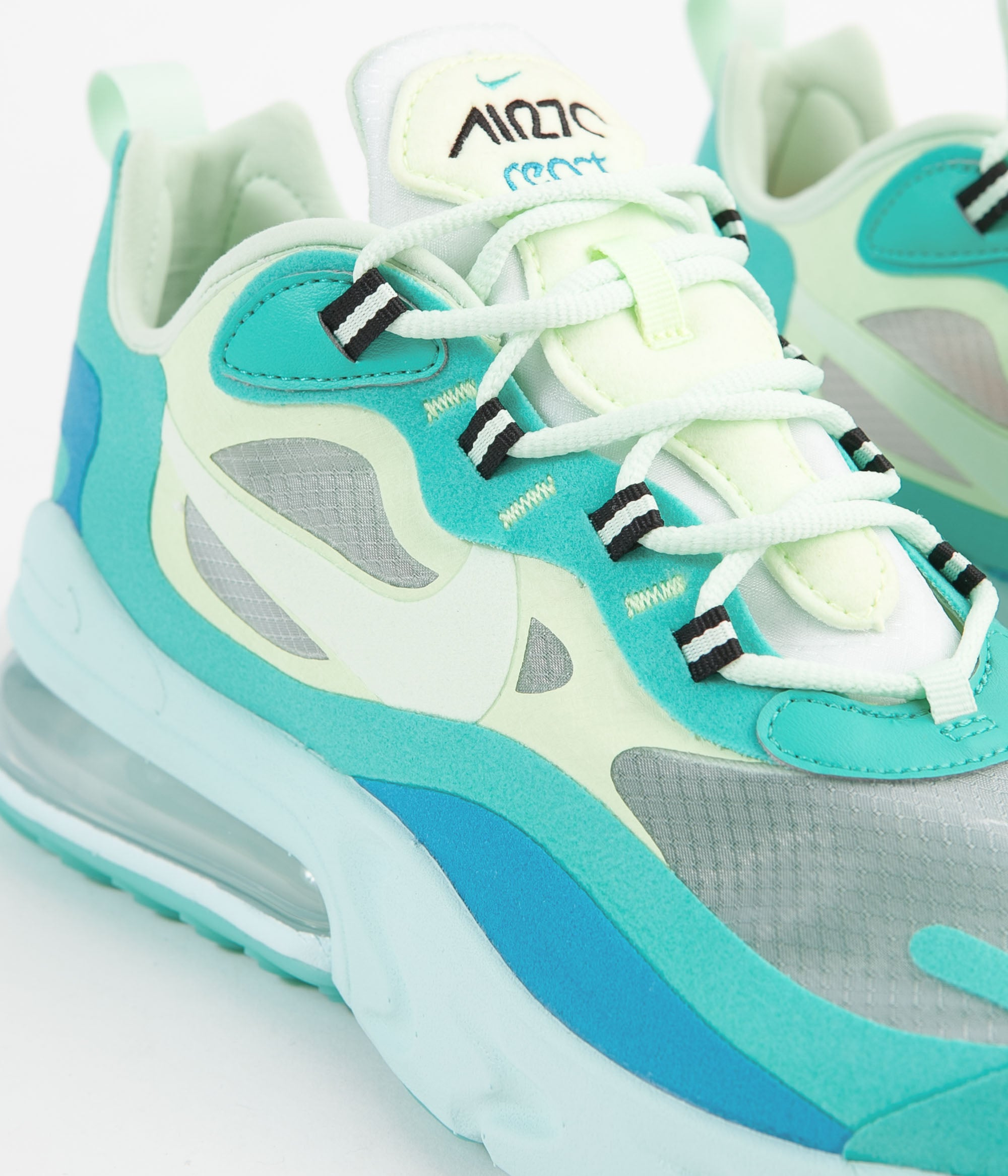nike air max 270 react shoes - hyper jade / frosted spruce - barely volt