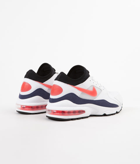Nike Air Max '93 Shoes - White / Habanero Red - Neutral Indigo - Black