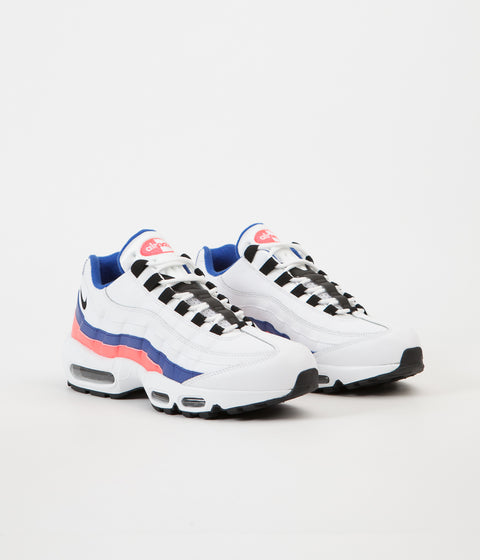 Nike Air Max 95 Essential Shoes - White / Black - Solar Red - Ultramarine