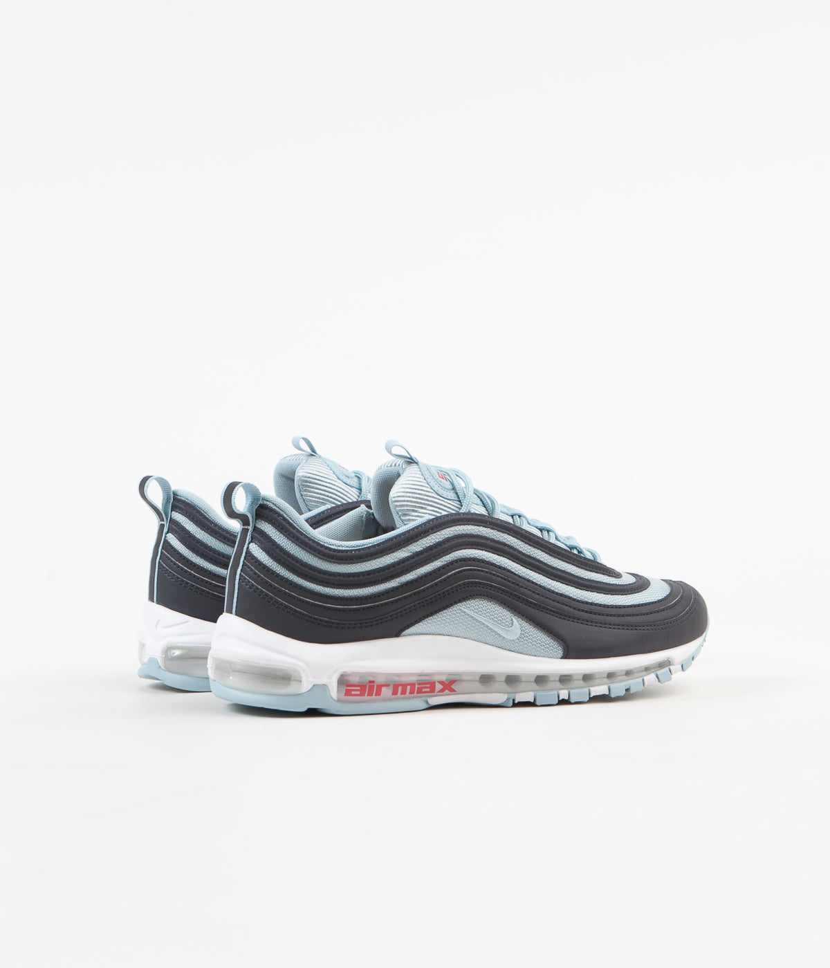 new products 078a9 9a694 ... Nike Air Max 97 Premium Shoes - Dark Obsidian   Ocean Bliss -  University Red ...
