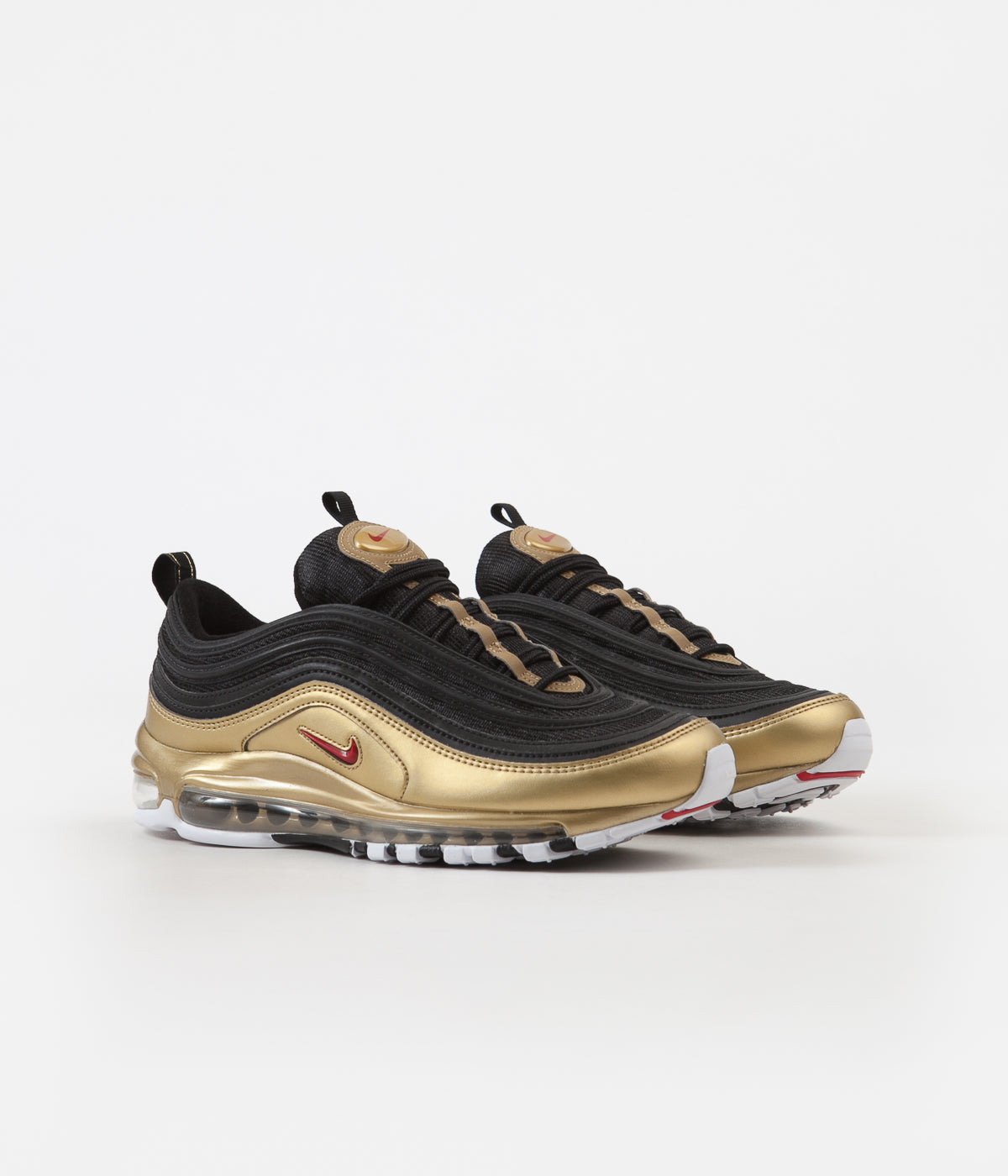 f9657f85e78a59 ... Nike Air Max 97 QS Shoes - Black / Varsity Red - Metallic Gold - White  ...