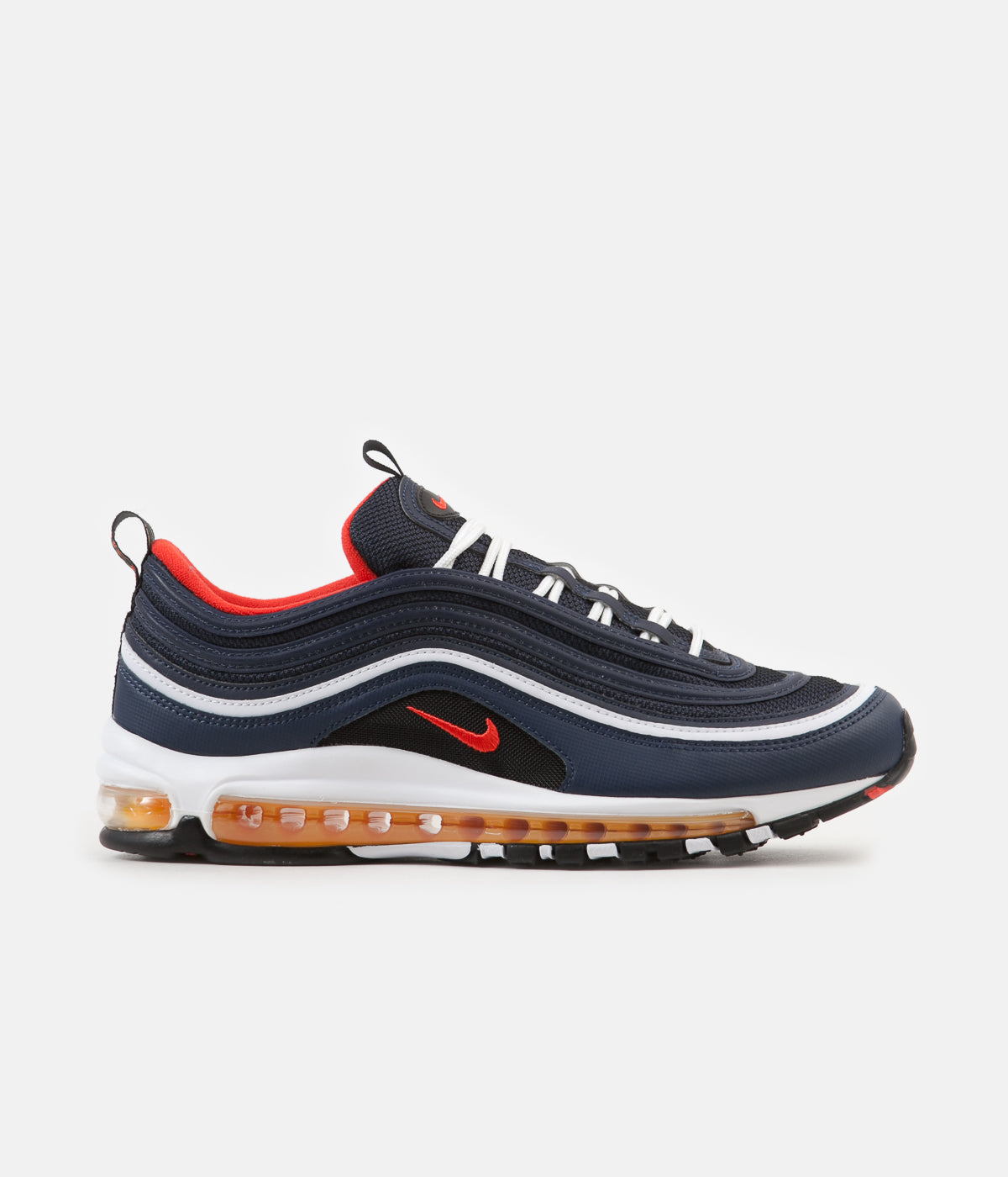 23d30fcf2d5a82 ... Nike Air Max 97 Shoes - Midnight Navy   Habanero Red - Black - White ...