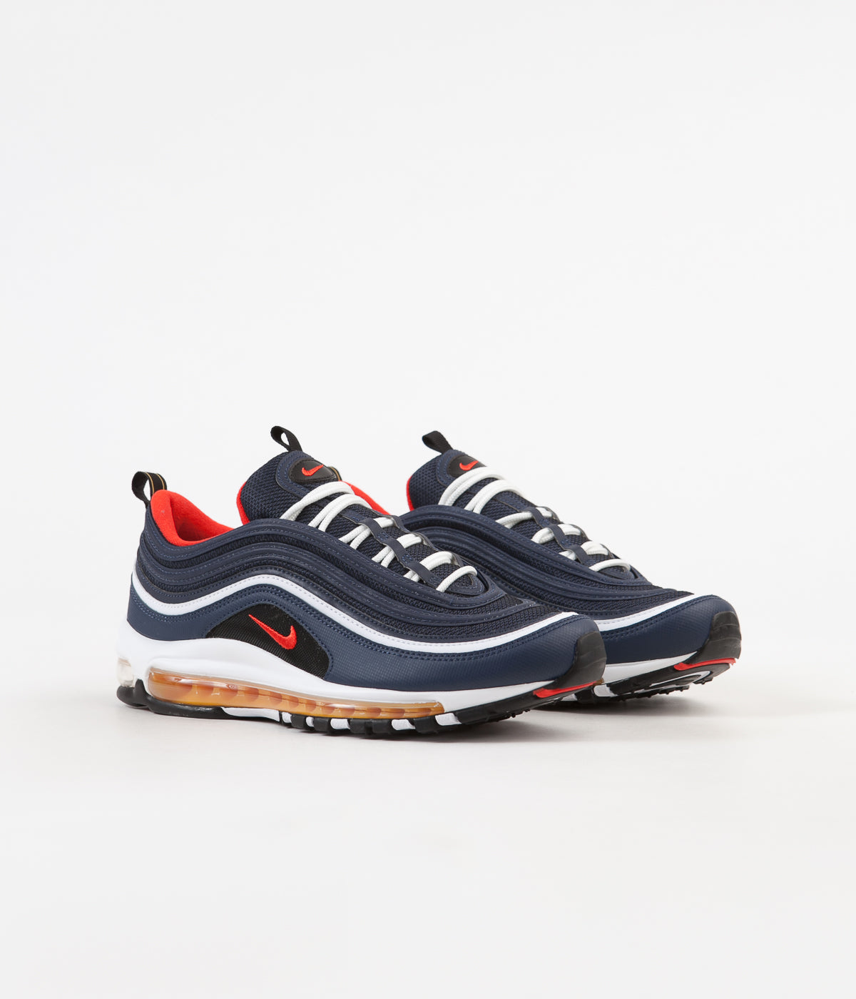 detailed look bd9d1 b3b56 Nike Air Max 97 Shoes - Midnight Navy / Habanero Red - Black ...