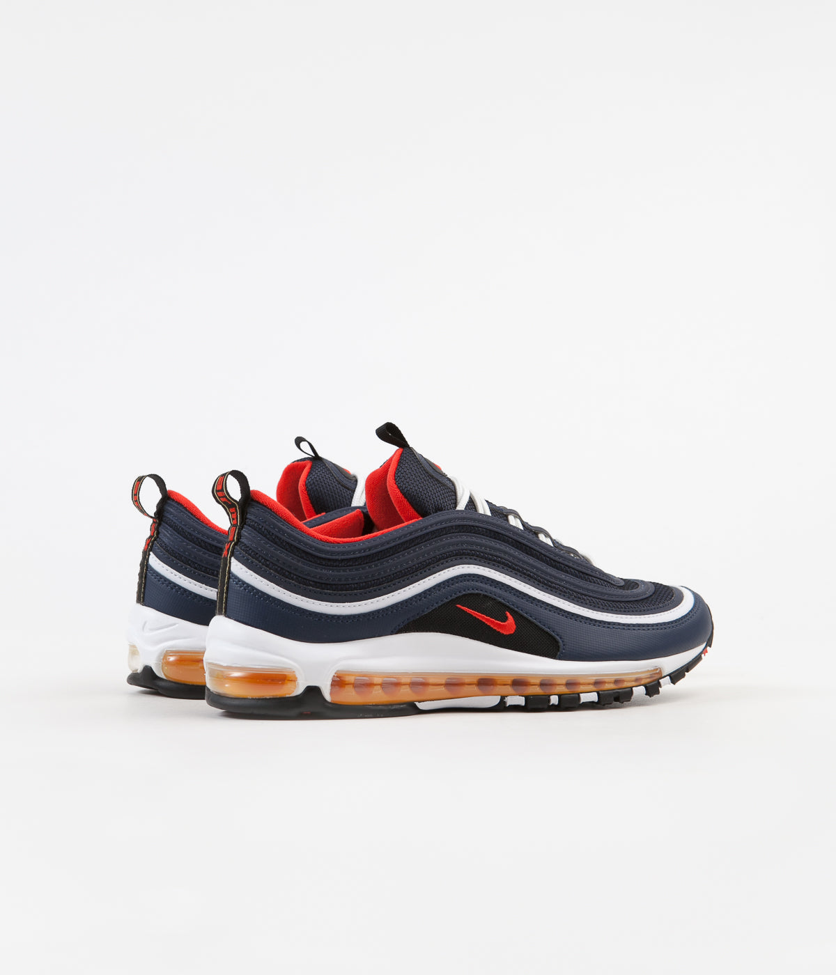 detailed look 7ca20 d2d4a Nike Air Max 97 Shoes - Midnight Navy / Habanero Red - Black ...