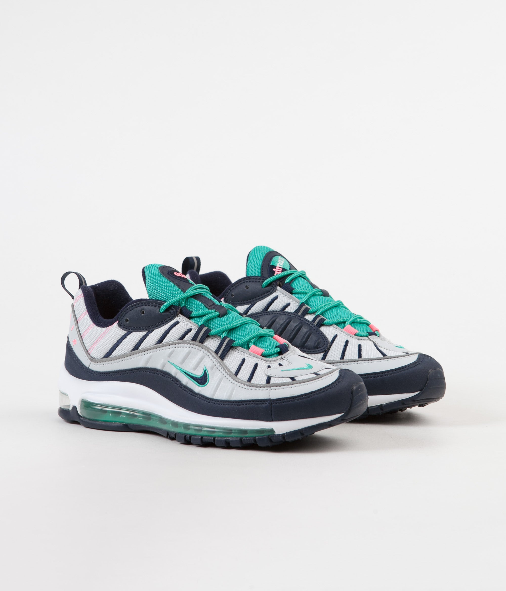 ababe5f200 ... Nike Air Max 98 Shoes - Pure Platinum / Obsidian - Kinetic Green ...