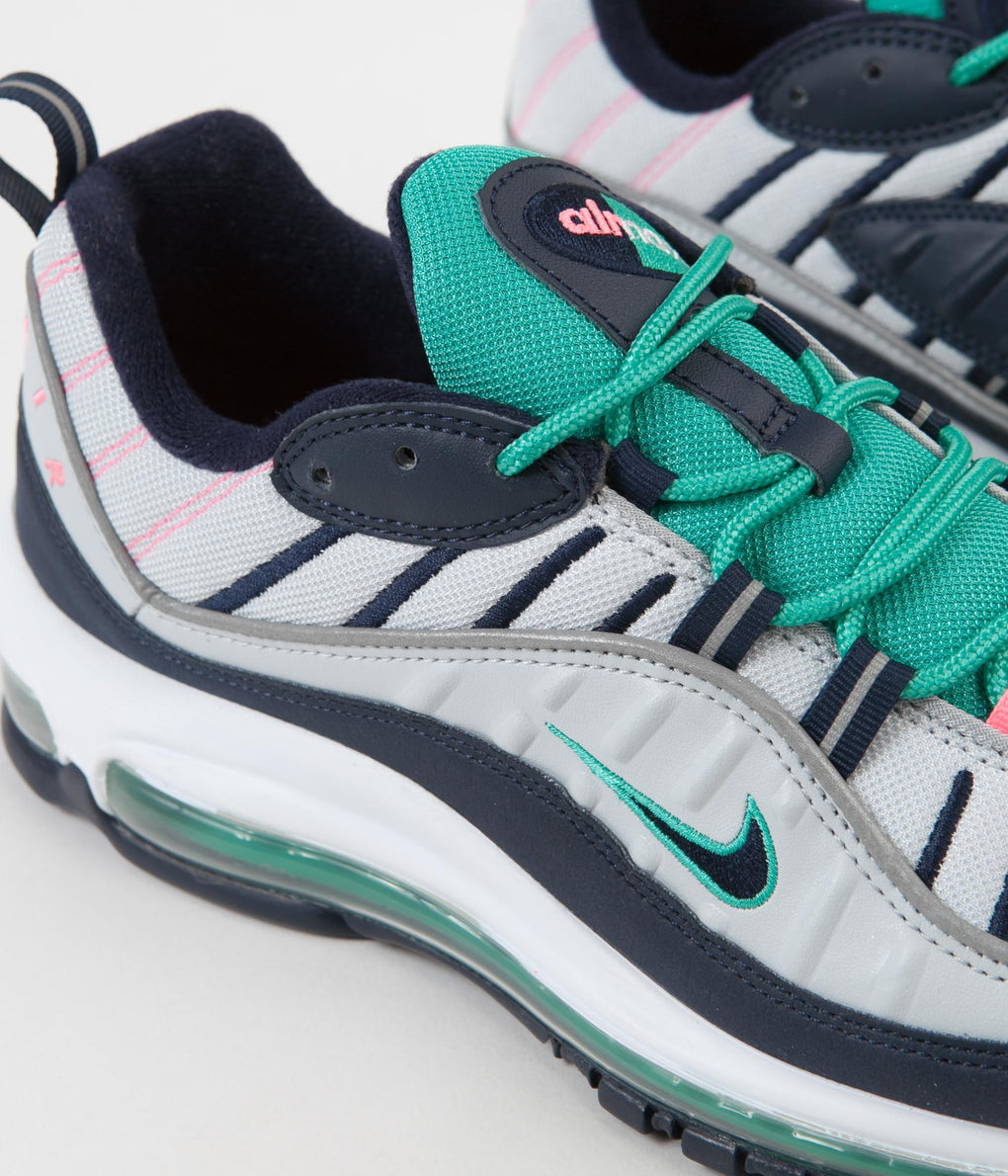 Nike Air Max 98 Shoes - Pure Platinum / Obsidian - Kinetic Green