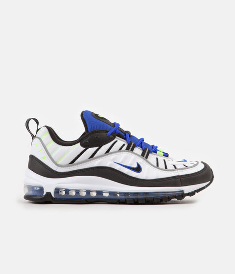 Nike Air Max 98 Shoes - White / Black - Racer Blue - Volt