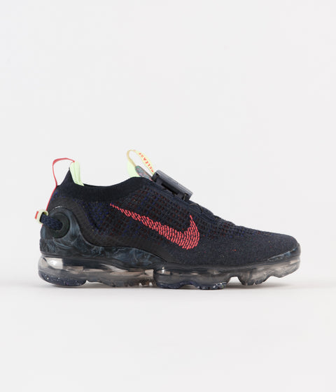 Nike Air Vapormax 2020 Flyknit Shoes - Obsidian / Siren Red - Barely Volt