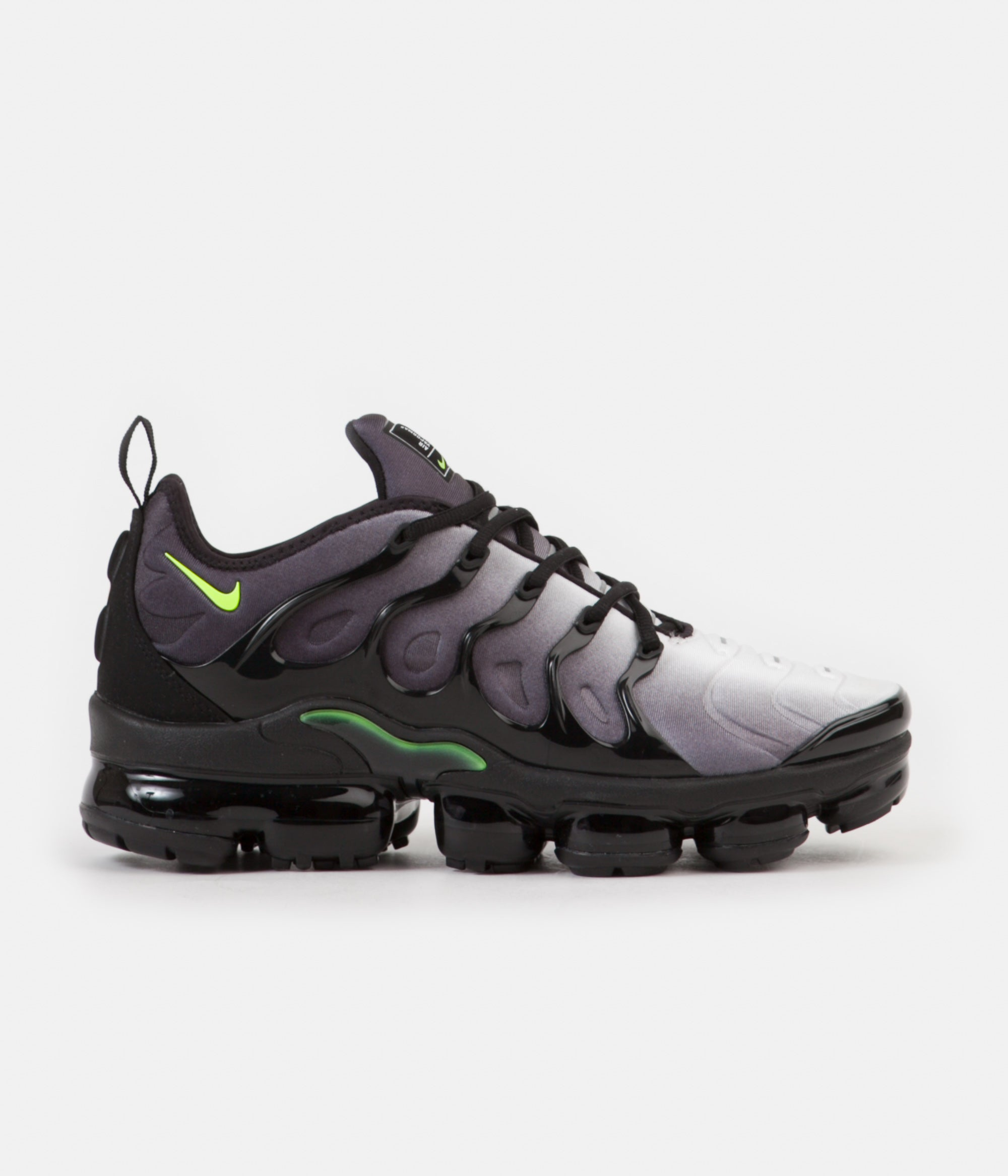 a28add9c23169 ... Nike Air VaporMax Plus Shoes - Black   Volt - White ...