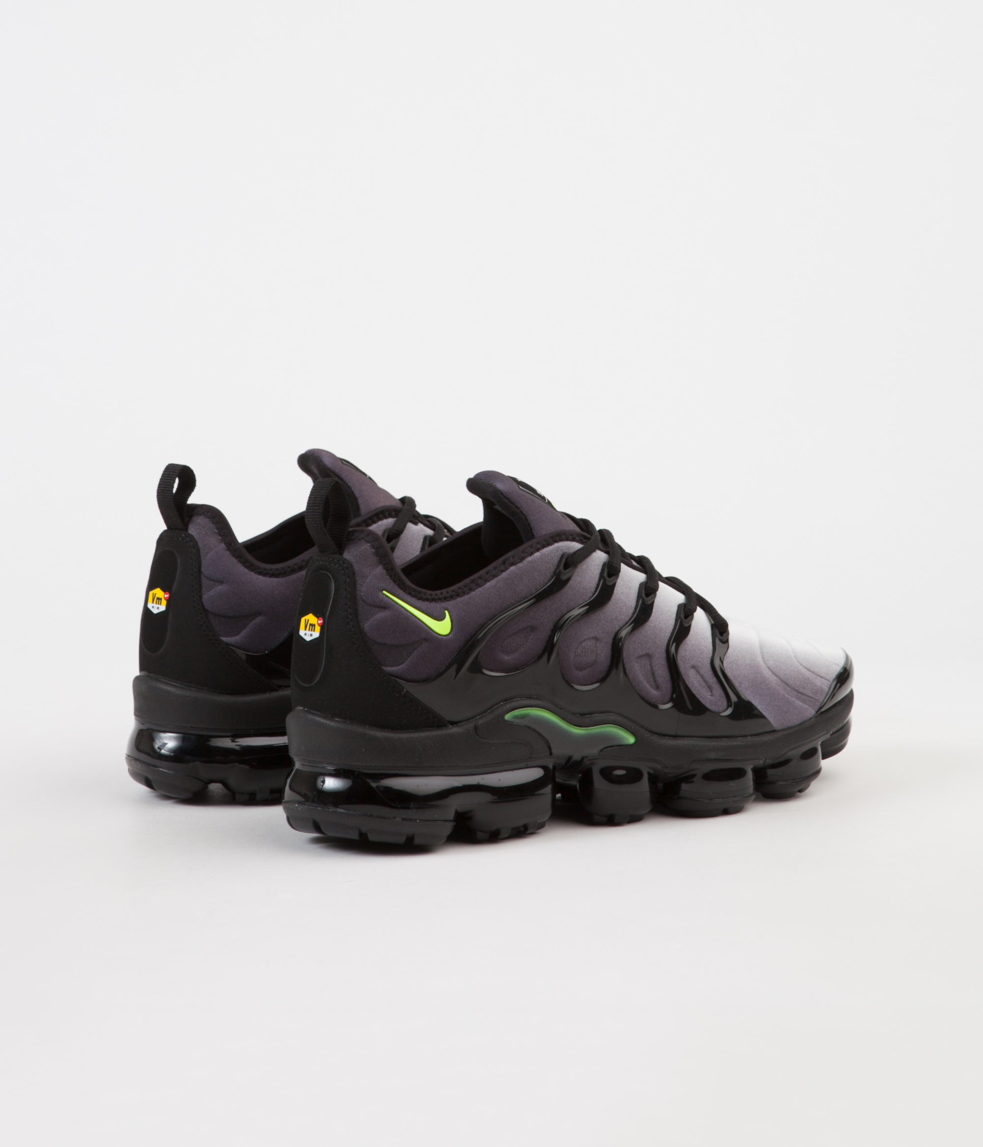 696da97895704 ... Nike Air VaporMax Plus Shoes - Black   Volt - White ...