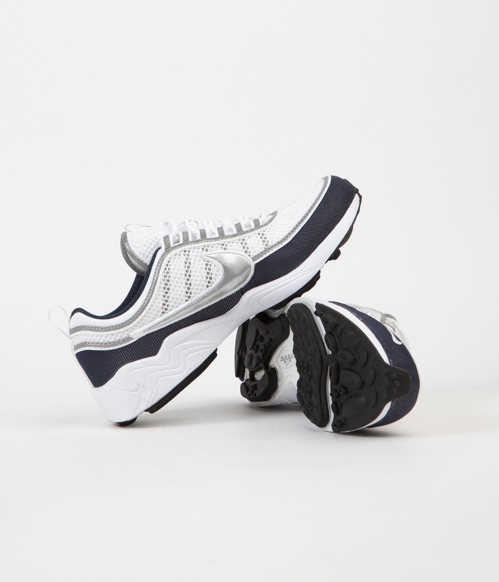 Nike Air Zoom  Spiridon '16 Shoes - White / Metallic Silver - Armory Navy - Black