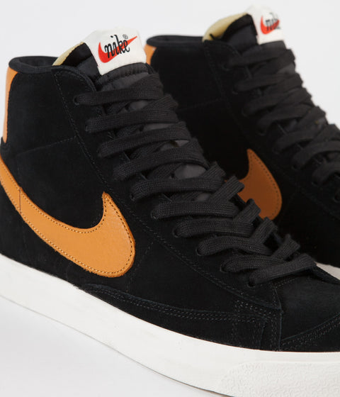 Nike Blazer '77 Shoes - Black / Amber Rise - Sail