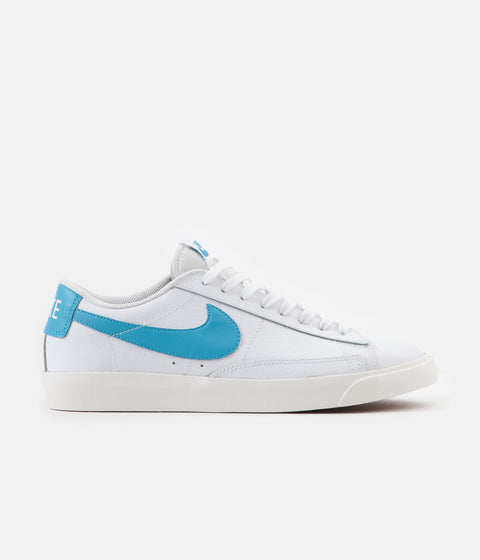 Nike Blazer Low Leather Shoes - White / Laser Blue - Sail