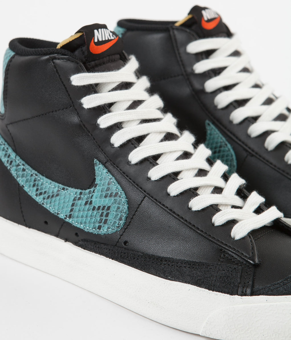 Nike Blazer Mid 77 Vintage Shoes - Black / Light Aqua - Sail