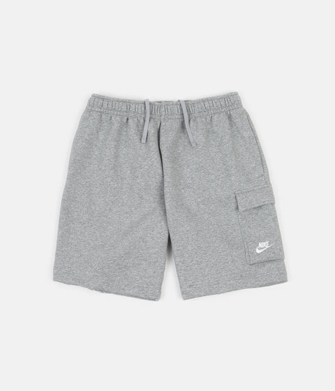 Nike Brushed Back Club Cargo Shorts - Dark Grey Heather / Matte Silver / White
