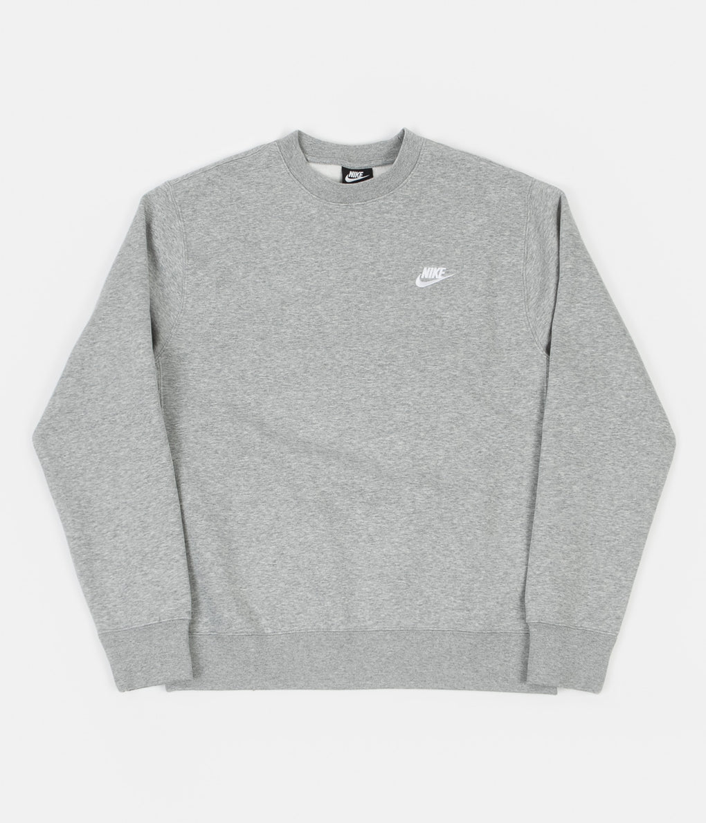 Nike Club Crewneck Sweatshirt - Dark Grey Heather / White