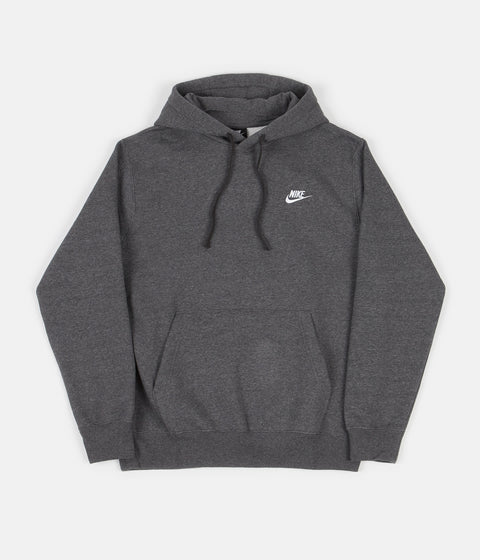 Nike Club Fleece Hoodie - Charcoal Heather / Anthracite / White