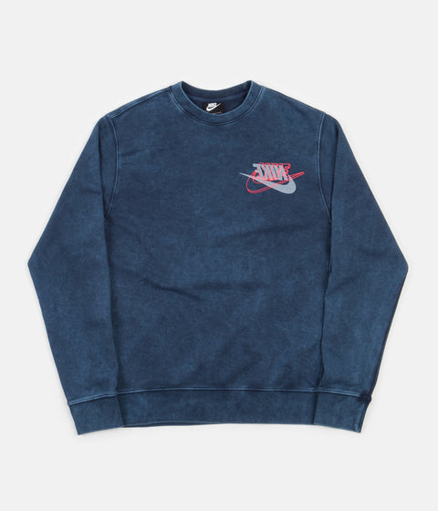 Nike French Terry Crewneck Sweatshirt - Midnight Navy / Bright Crimson