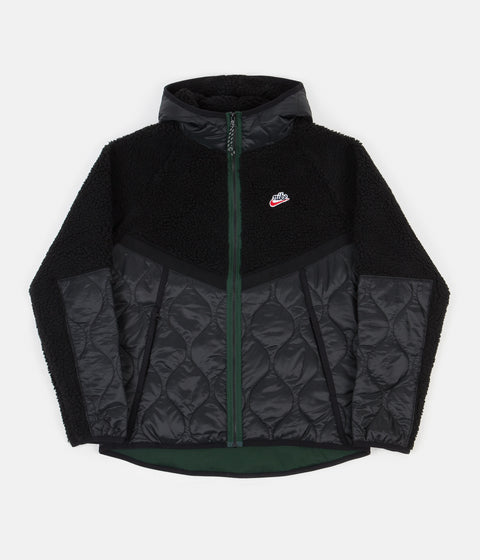 Nike Heritage Insulated Winter Jacket - Black / Black - Pro Green
