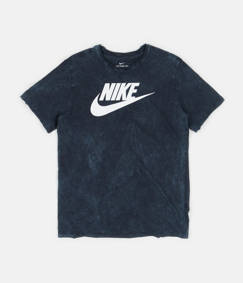 Nike Icon Futura Wash T-Shirt - Obsidian / White