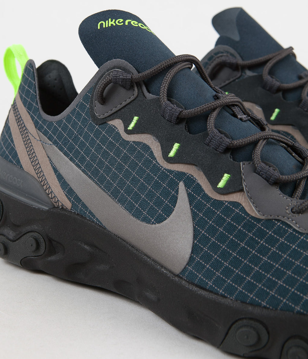 Nike React Element 55 Shoes - Armory Navy / Metallic Dark Grey - Volt