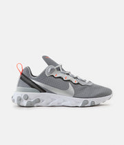 Nike React Element 55 Shoes - Cool Grey / Metallic Silver - Hyper Crimson
