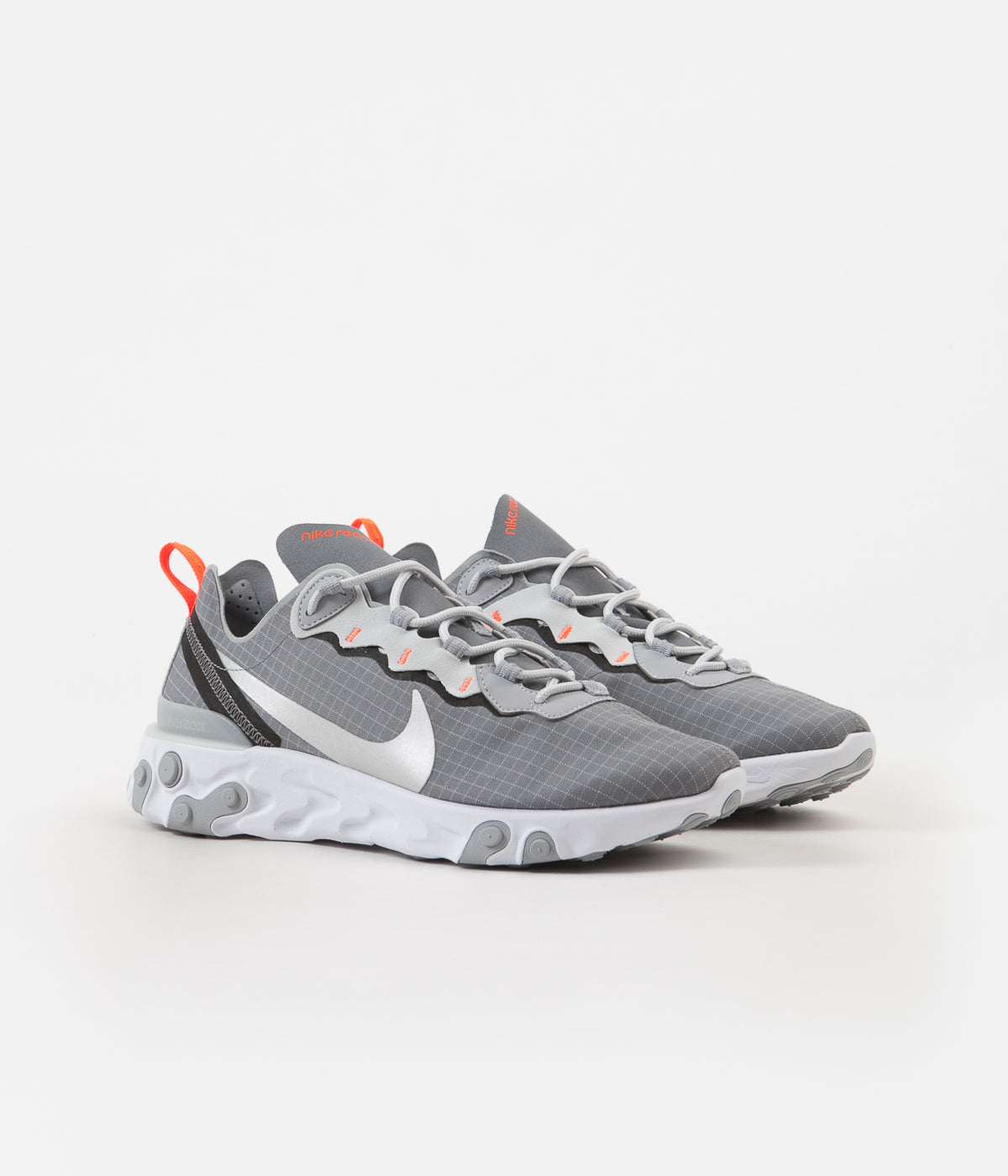 fdd4d8be47c2 ... Nike React Element 55 Shoes - Cool Grey / Metallic Silver - Hyper  Crimson ...