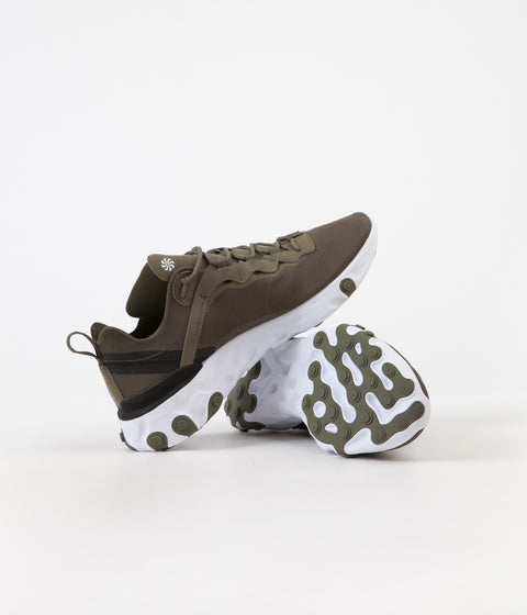 Nike React Element 55 Shoes - Medium Olive / Cool Grey - Black - White