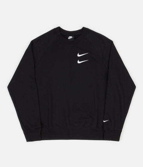 Nike Swoosh French Terry Crewneck Sweatshirt - Black / White