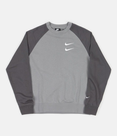 Nike Swoosh French Terry Crewneck Sweatshirt - Particle Grey / Iron Grey / White