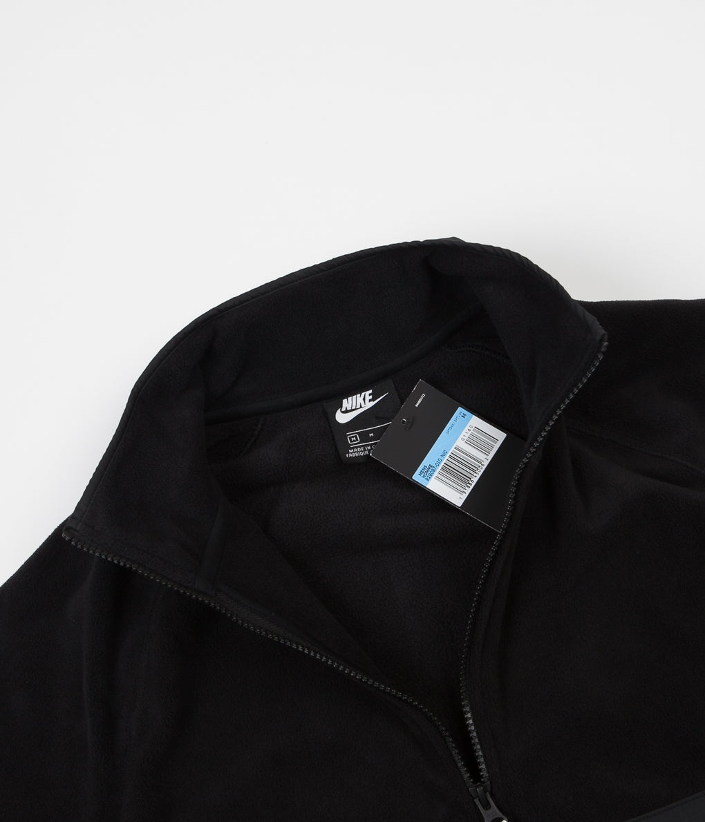 Nike Sportswear Half Zip Fleece Sweatshirt - Black / Black / White