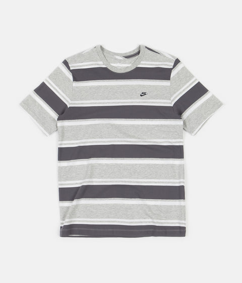 Nike Stripe T-Shirt - Grey Heather / White / Dark Grey
