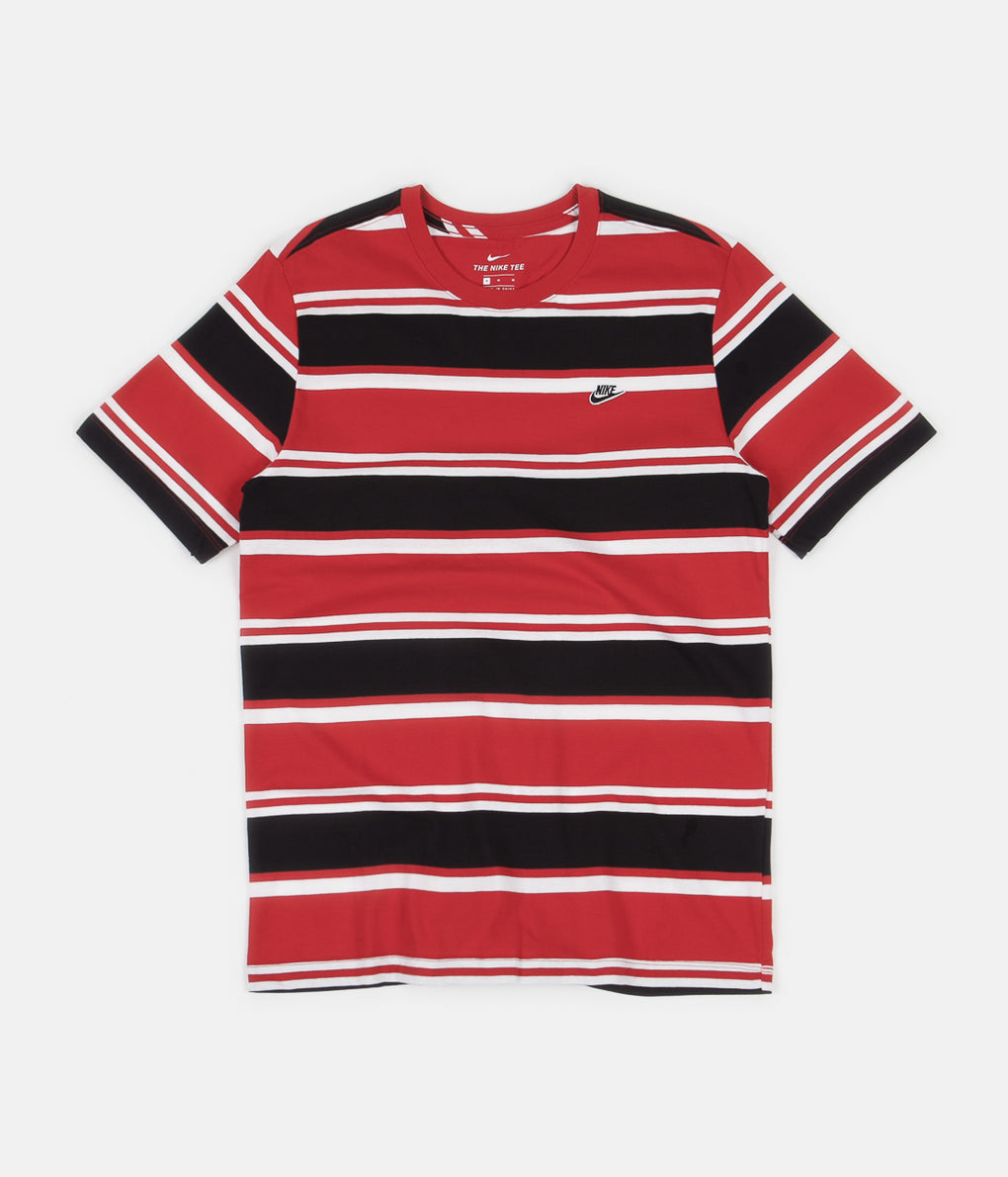 Nike Stripe T-Shirt - White / University Red / Black