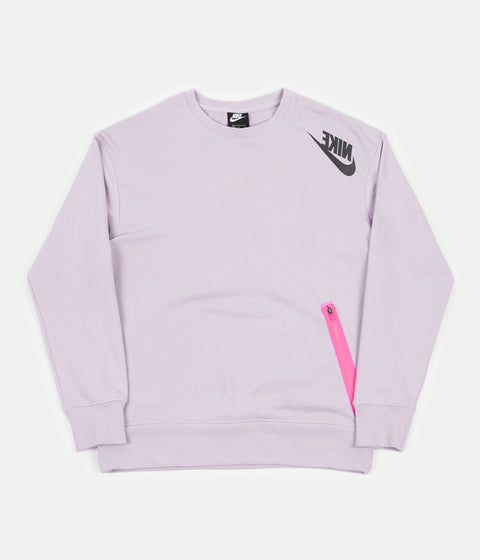 Nike Swoosh French Terry Crewneck Sweatshirt - Iced Lilac / Digital Pink / Black