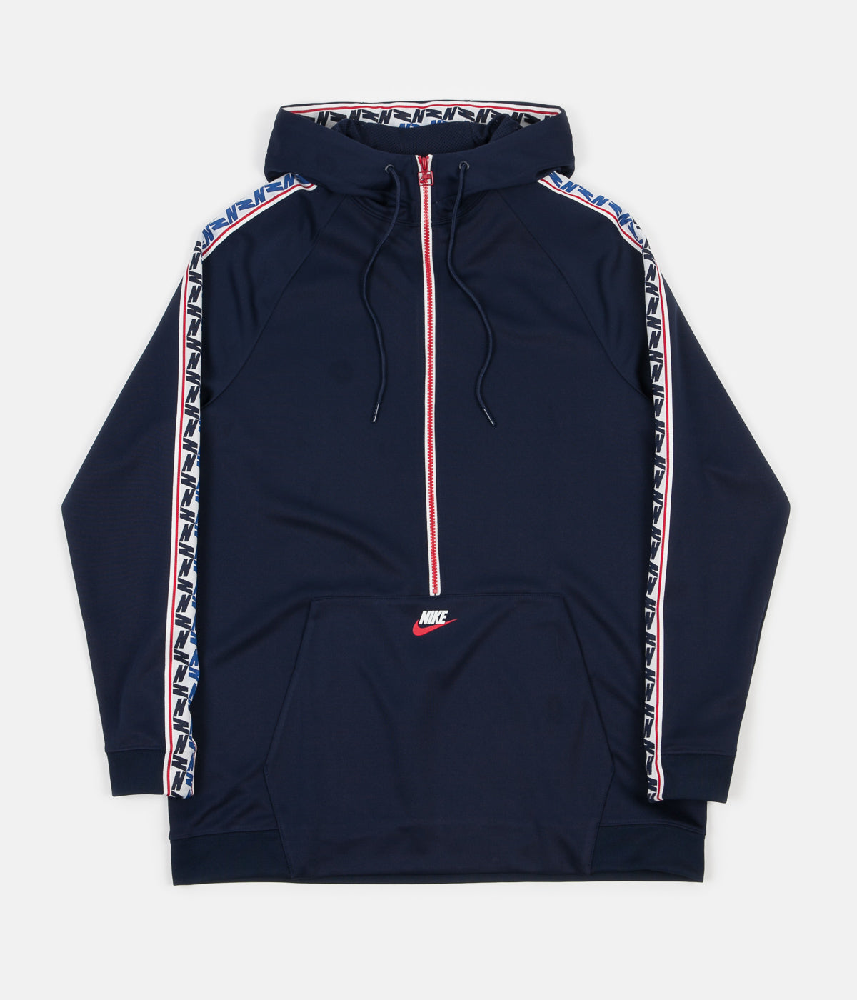 0893e9eef7 ... Nike Taped Half Zip Poly Hoodie - Obsidian   Gym Red   Sail ...