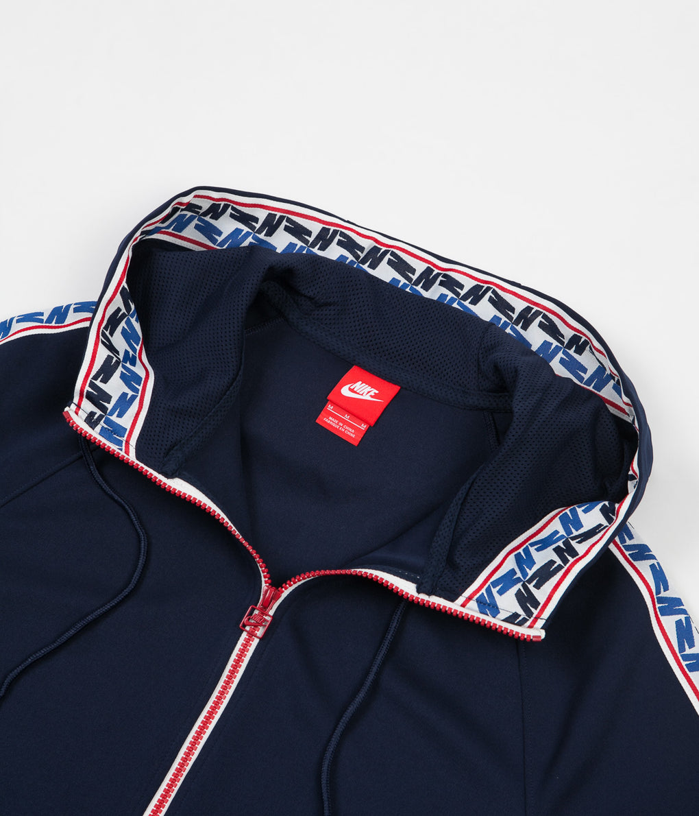 Nike Taped Half Zip Poly Hoodie - Obsidian / Gym Red / Sail
