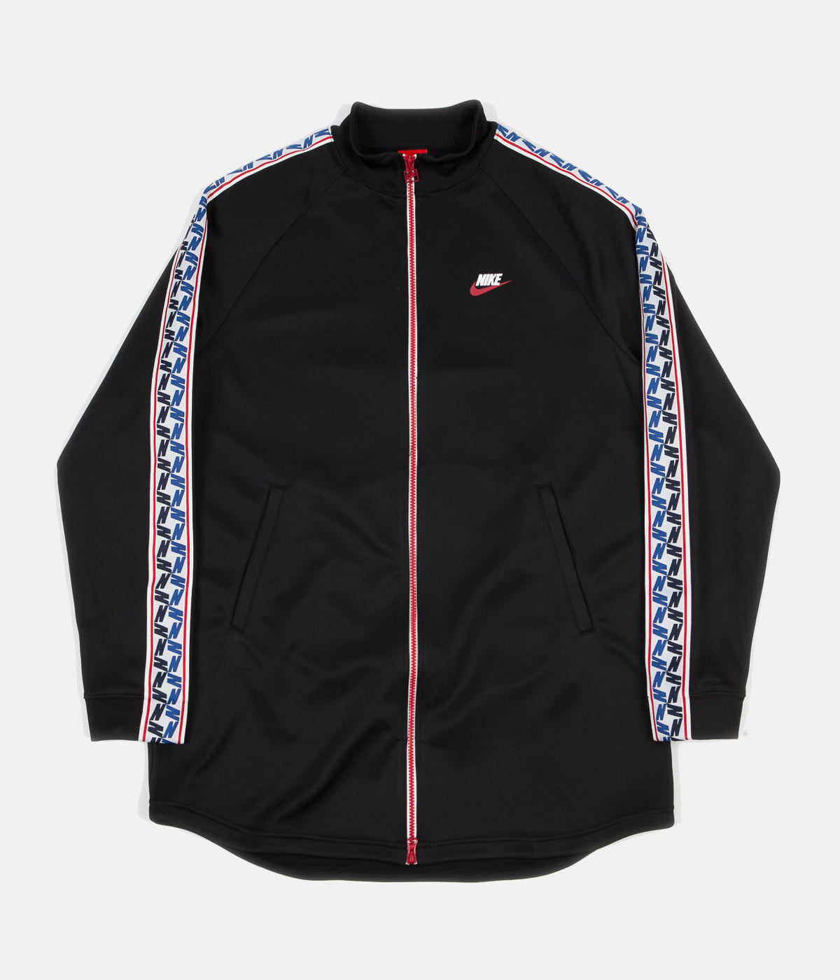 e8606c3c3193 ... Nike Taped Poly Track Jacket - Black   Gym Red   Sail ...