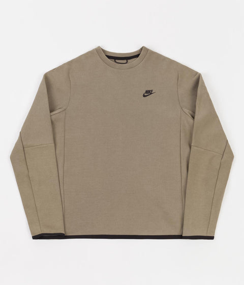 Nike Tech Fleece Wash Crewneck Sweatshirt - Taupe Haze / Black