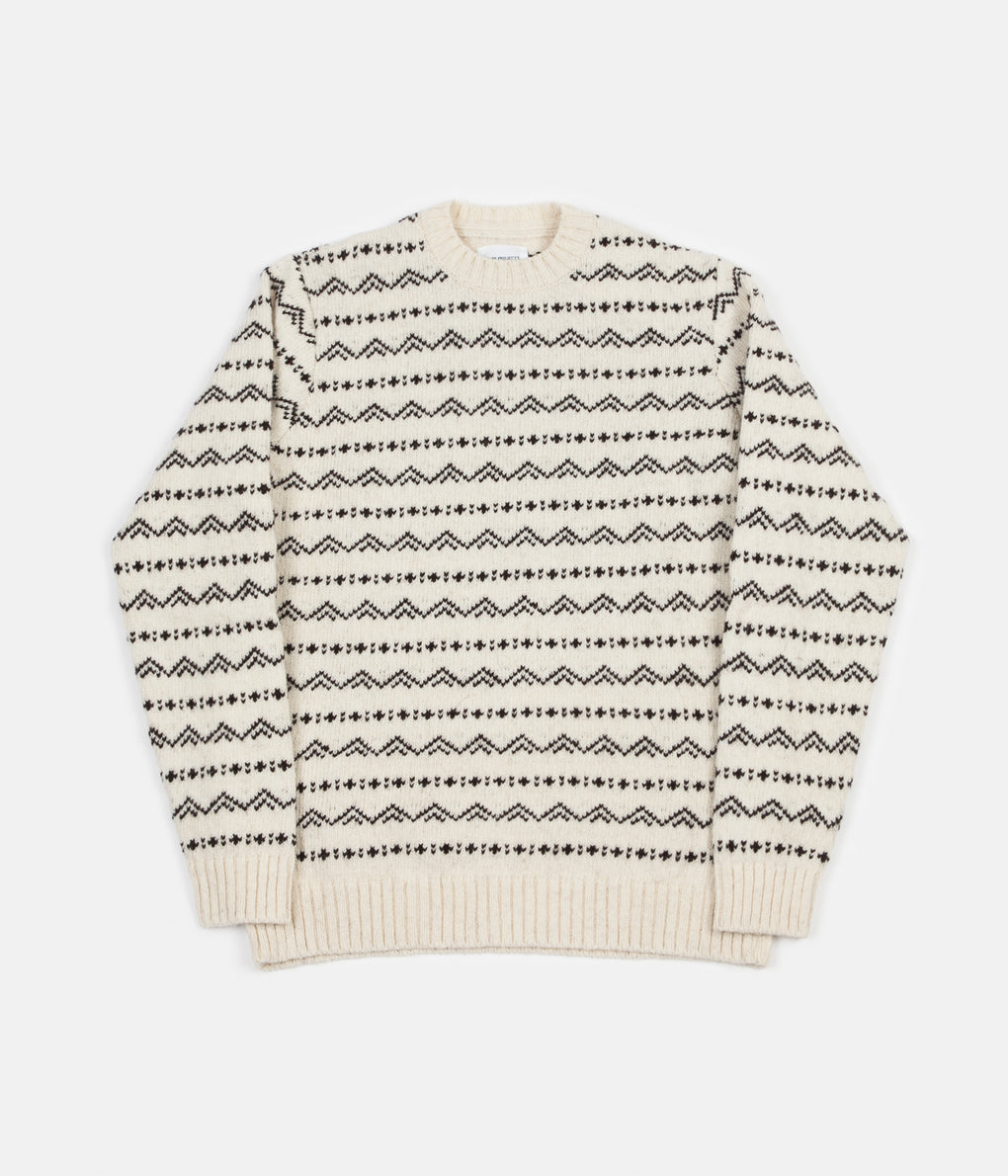 Norse Projects Arild Rough Fairisle Knit Jumper - Ecru