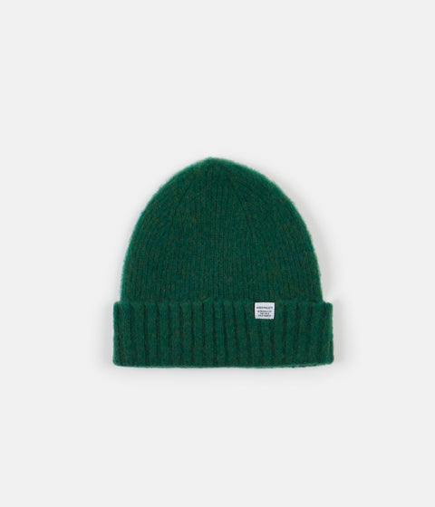 Norse Projects Brushed Lambswool Beanie - Sporting Green