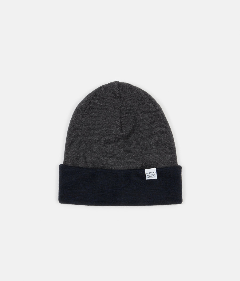 Norse Projects Colour Block Beanie - Dark Navy