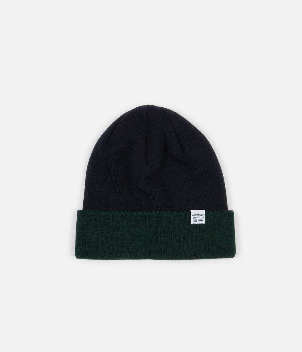Norse Projects Colour Block Beanie - Spinnaker Green