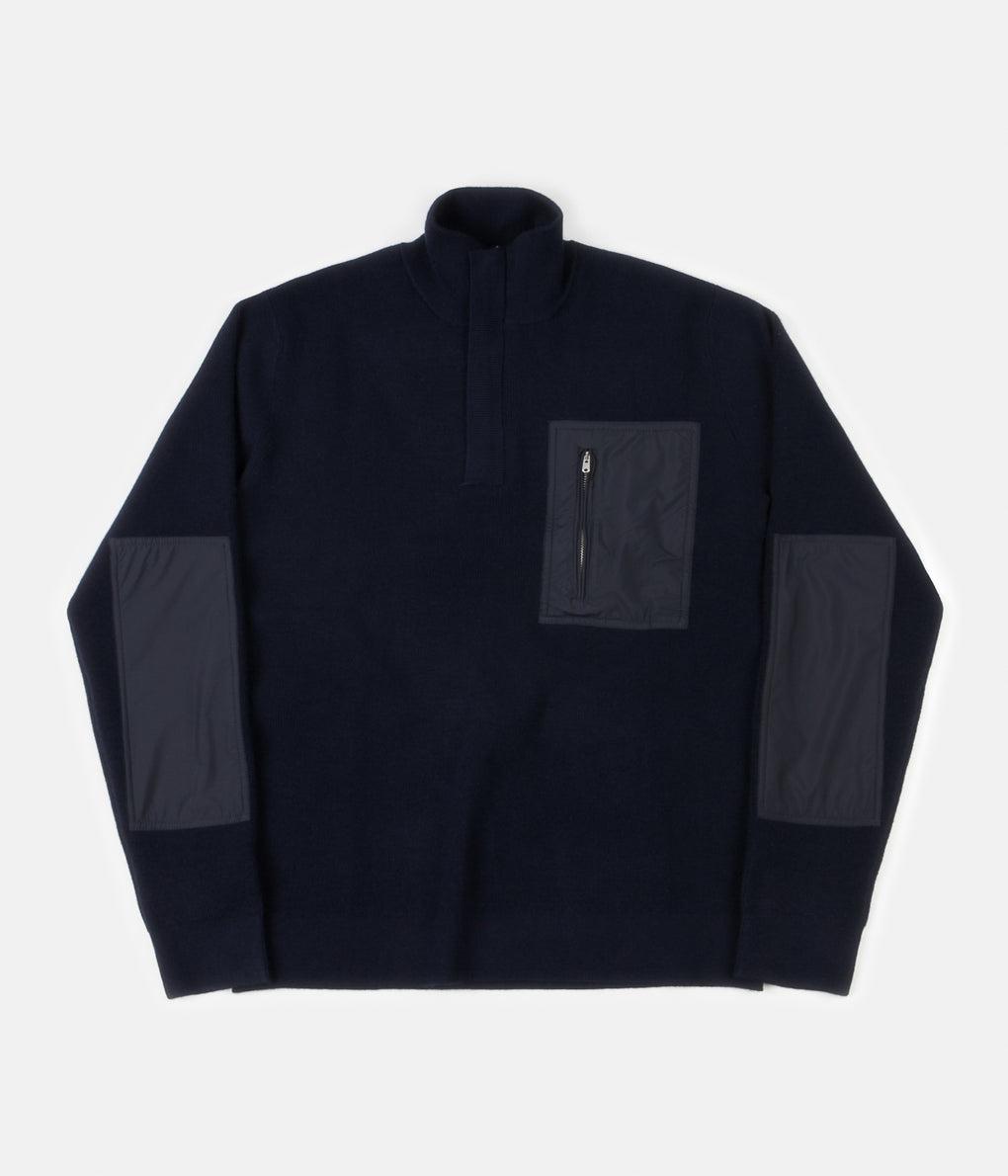 Norse Projects Fjord Tech Half Zip Sweatshirt - Dark Navy
