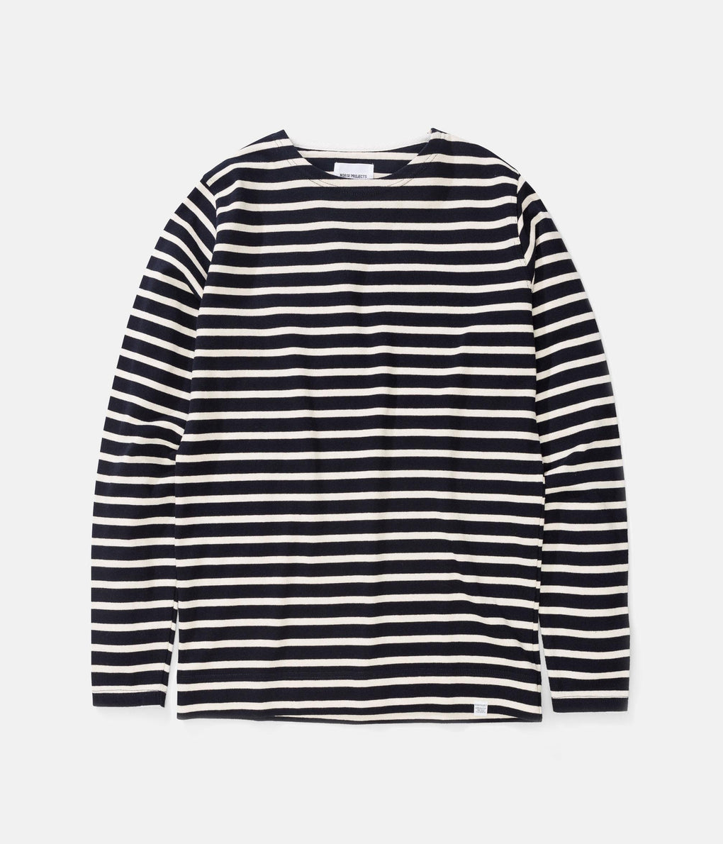 Norse Projects Godtfred Classic Long Sleeve T-Shirt - Navy / Ecru