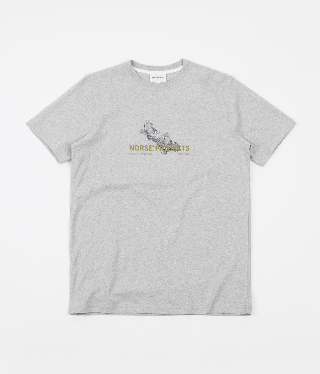 Norse Projects Niels Canoe Adventure T-Shirt - Light Grey Melange