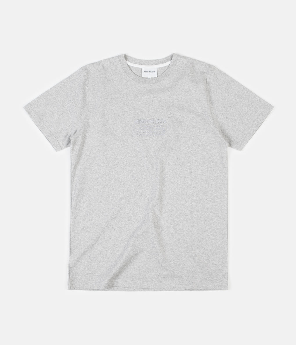 Norse Projects Niels Norse Projects Logo T-Shirt - Light Grey Melange