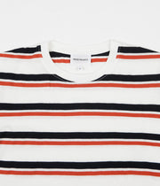 Norse Projects Niels Pique Stripe T-Shirt - Pumpkin Orange / Dark Navy Stripe
