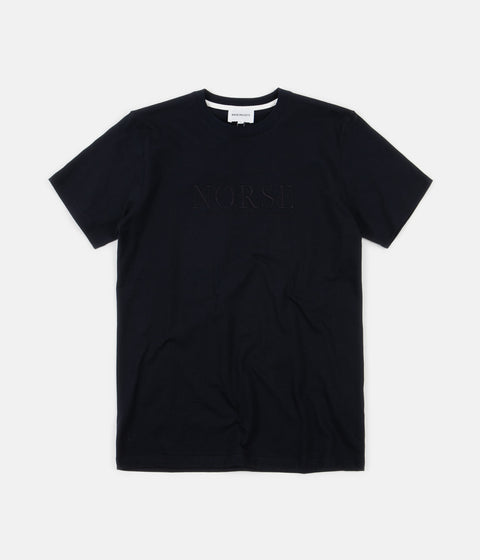 Norse Projects Niels Serif Logo T-Shirt - Dark Navy