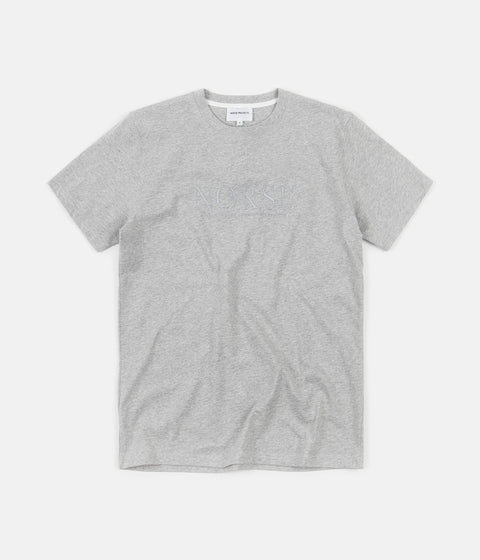 Norse Projects Niels Serif Logo T-Shirt - Light Grey Melange