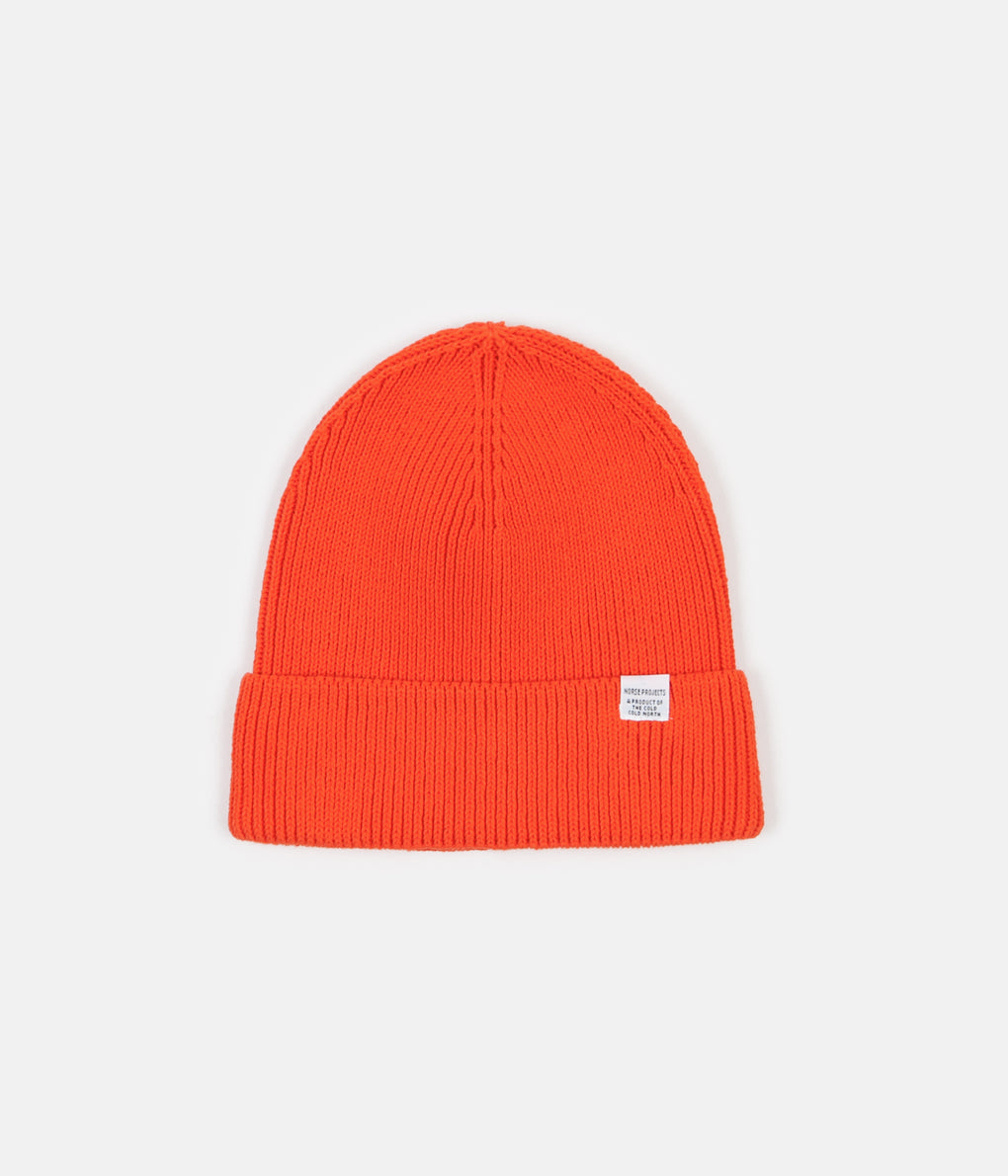 Norse Projects Norse Cotton Watch Beanie - Coral Red